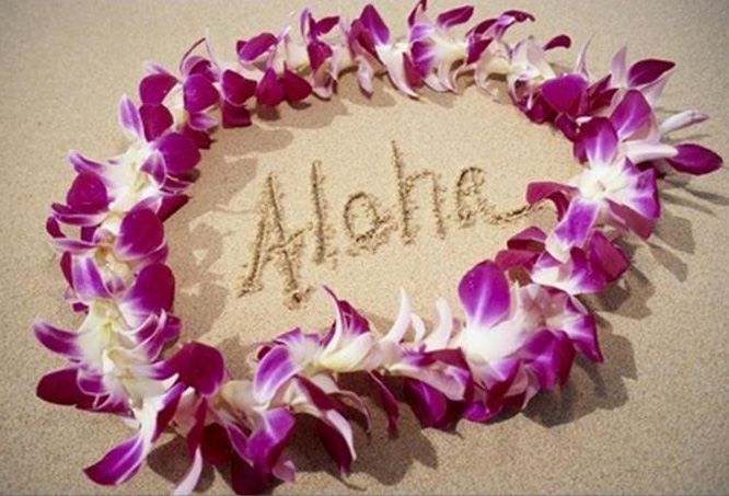 Pic of lei on beach with Aloha written inside